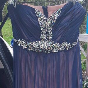 DEB Blue Aurora Borealis/Iridescent Gown Sz 18 NWT